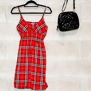 Red plaid spaghetti strap dress
